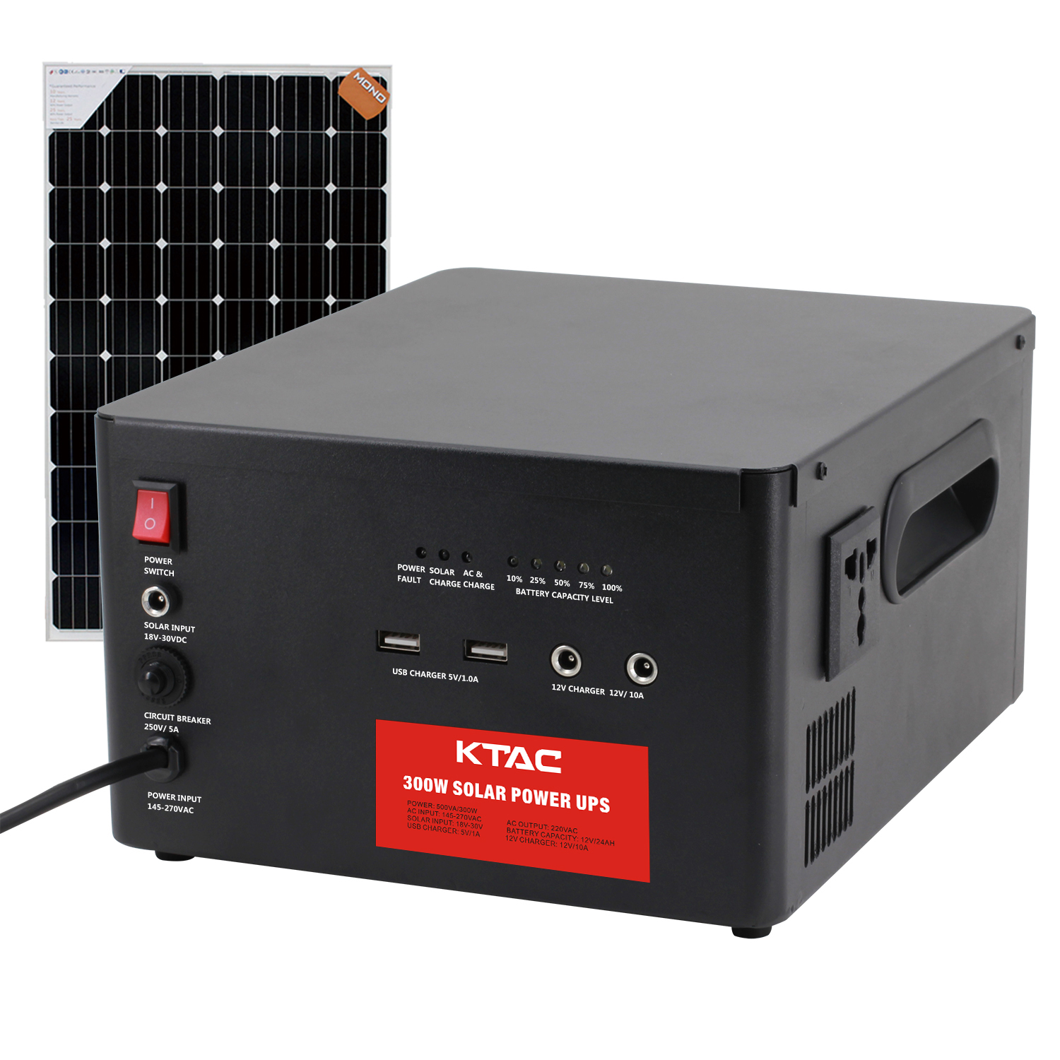 500VA solar UPS with built in battery USB charger and 12V DC charger